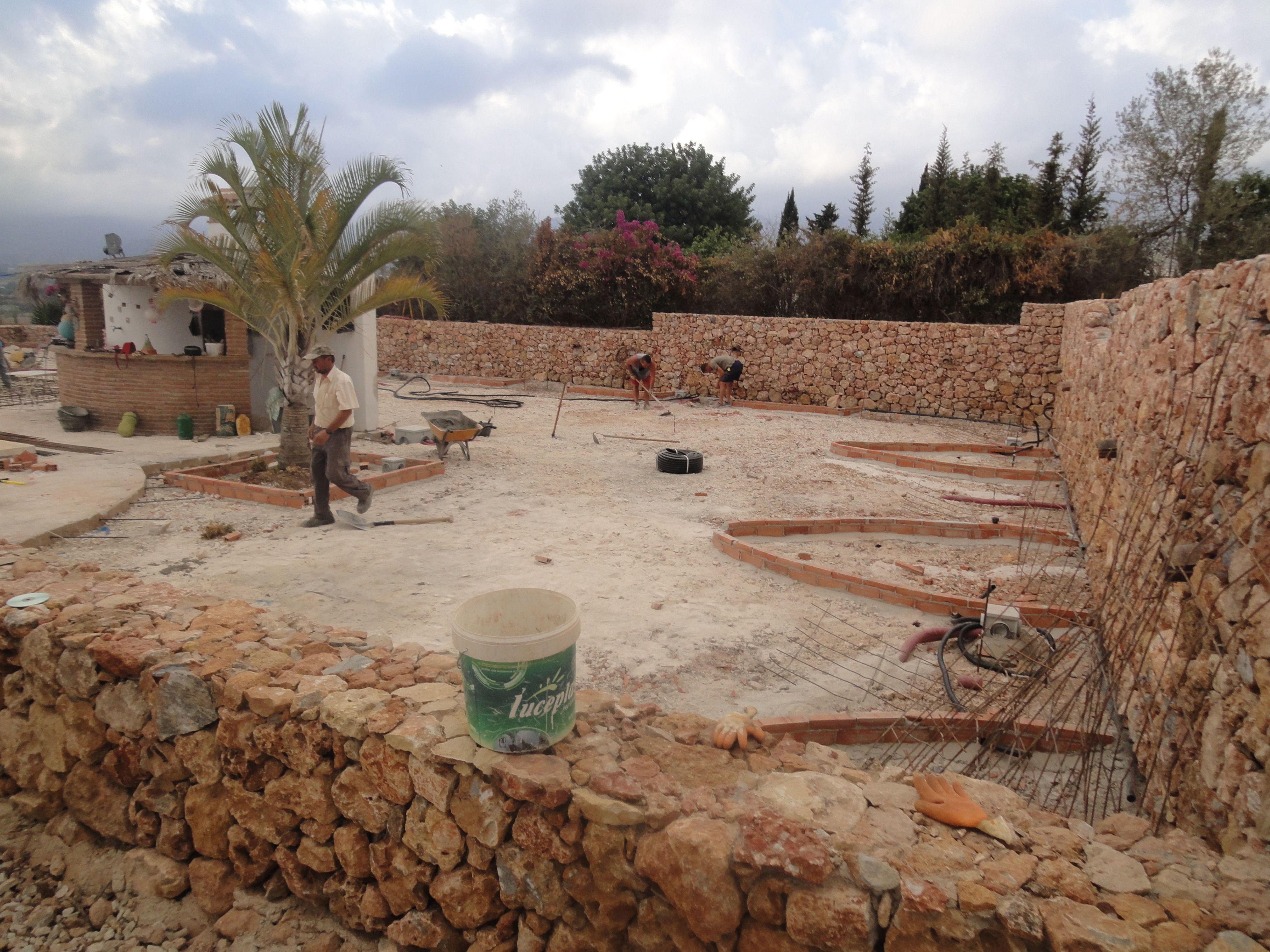 Realización de jardín con palmeras