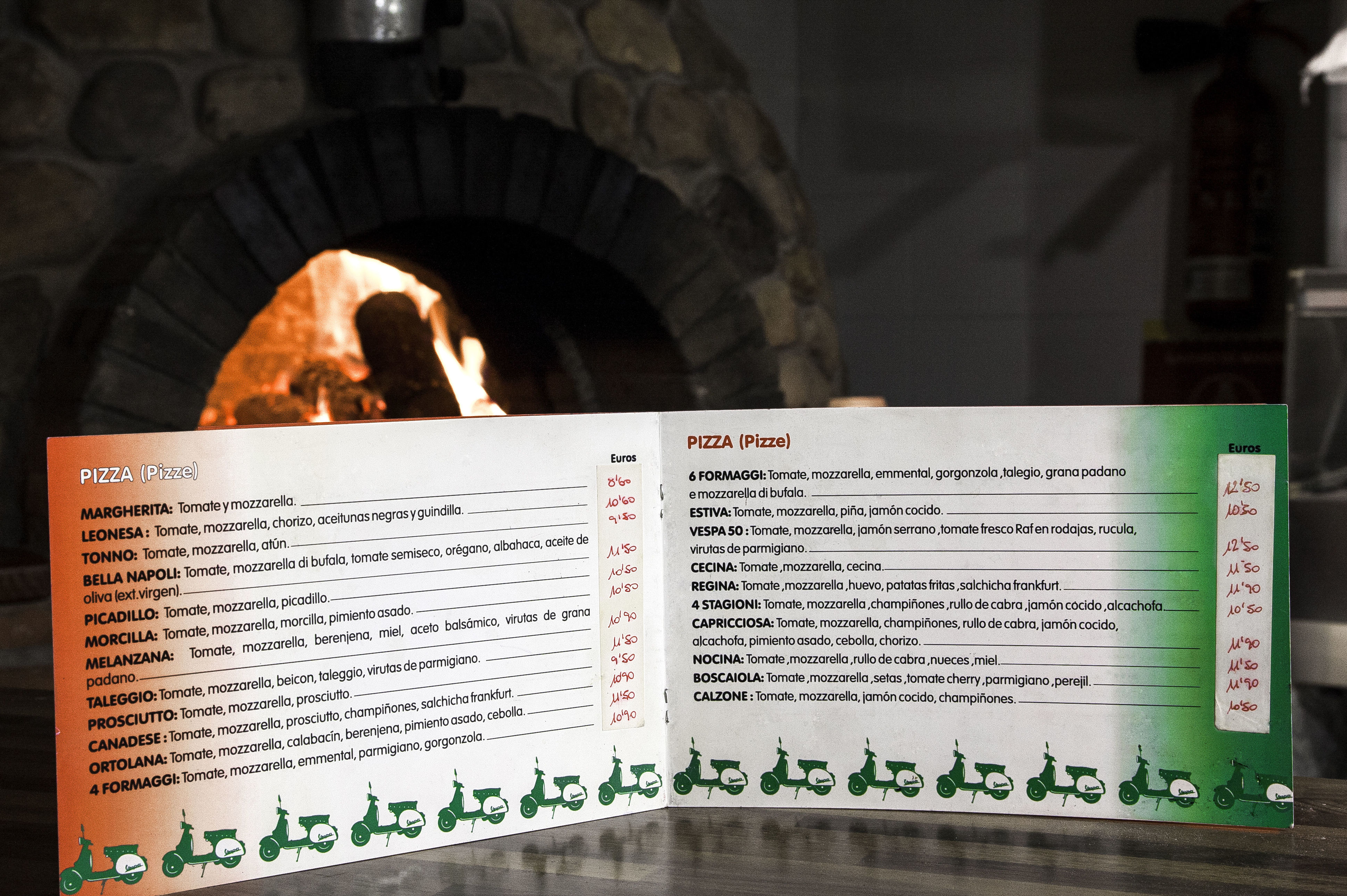 Carta con gran variedad de pizzas
