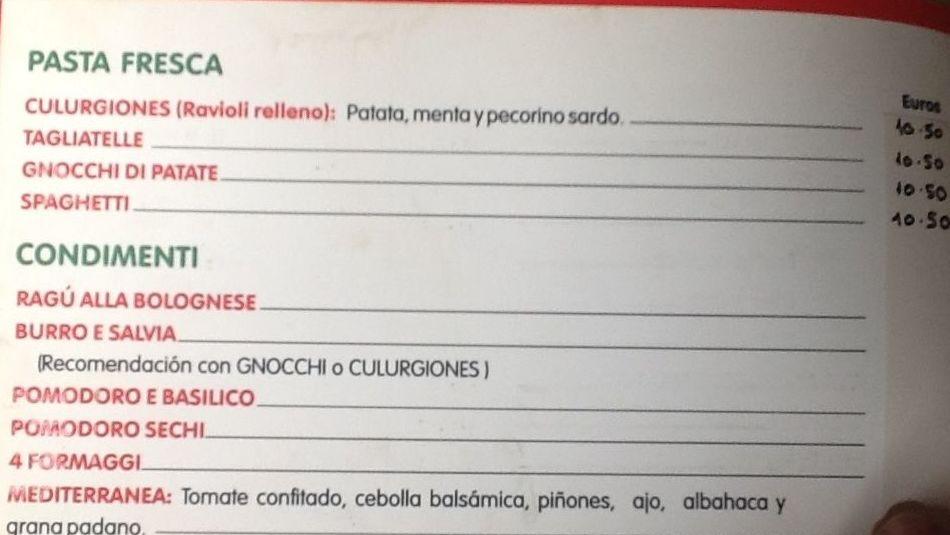 Carta de platos de pasta