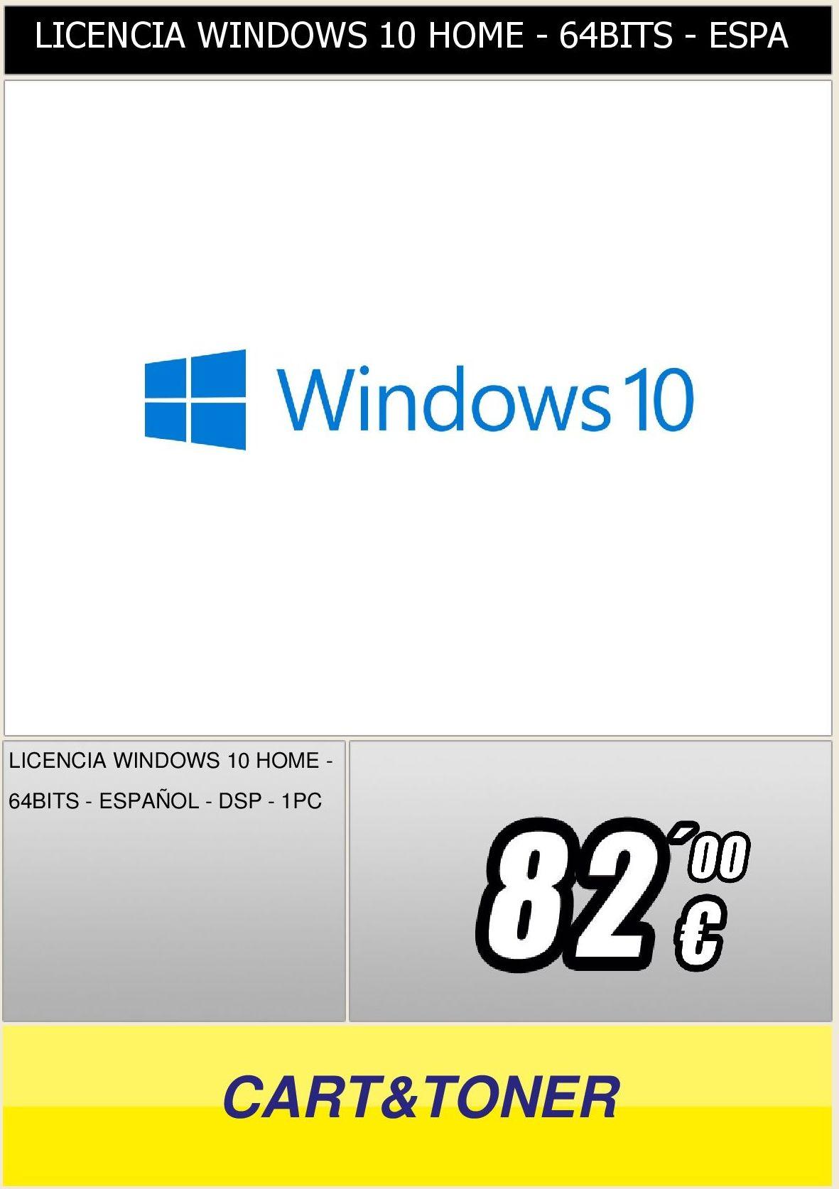 licencia para windows 10 home 64 bits