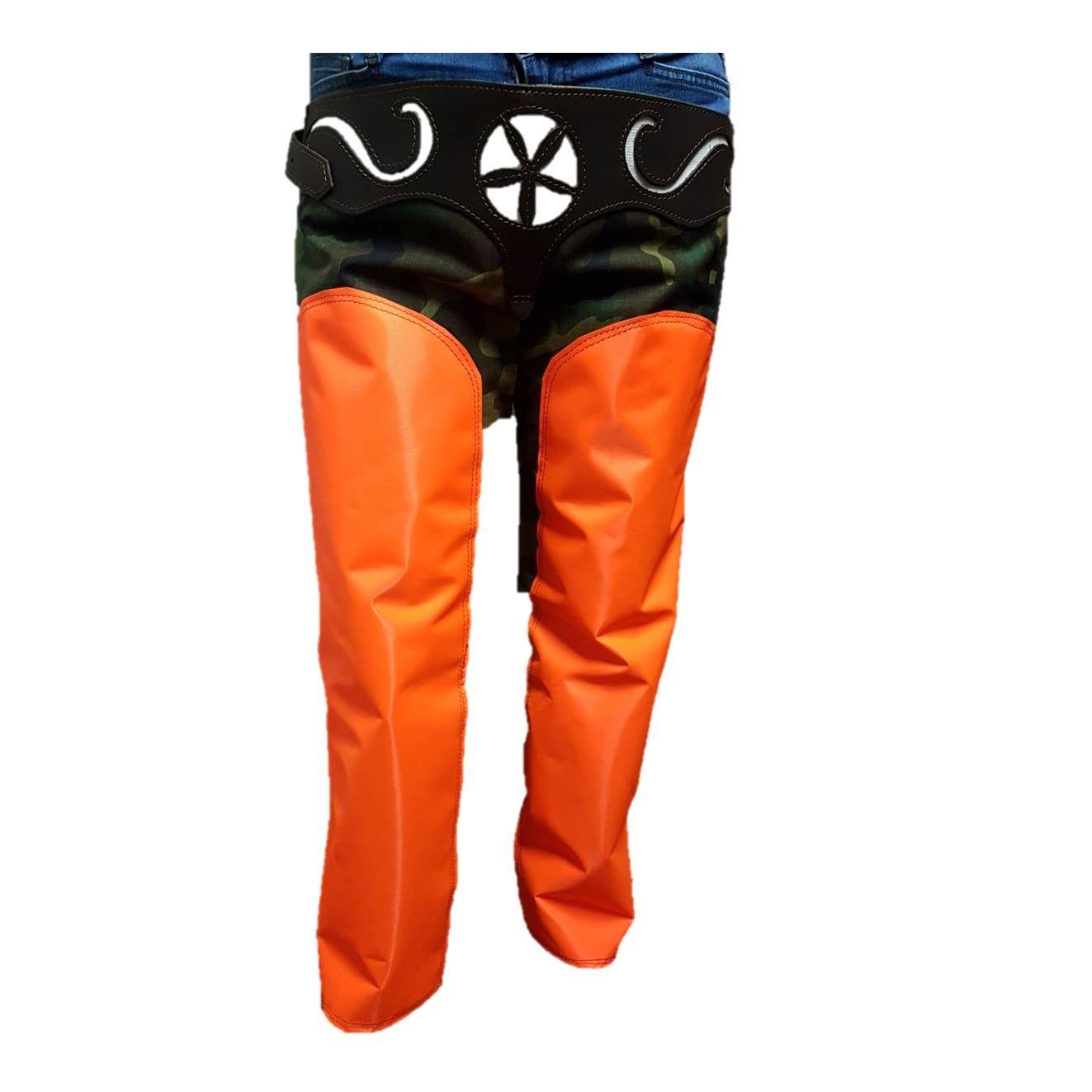 Pernera lona para cazar en monte boscoso, camuflaje y naranja: Tienda online de Artículos de Caza