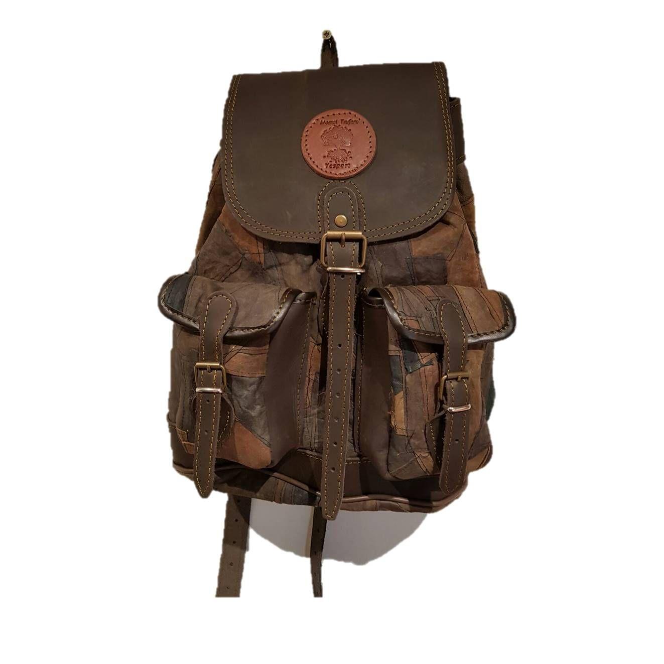 Mochila de caza medieval, con bolsillos frontales, cierre hebilla coscojo: Tienda online de Artículos de Caza