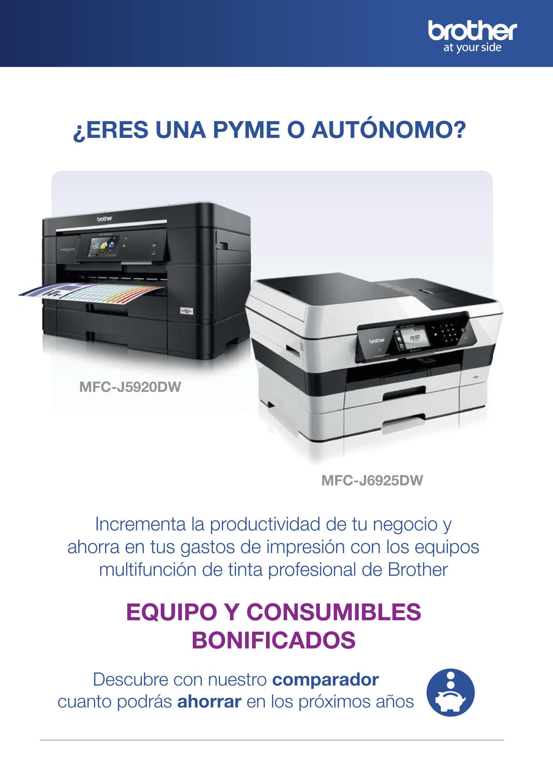 Impresoras con precio de compra y consumibles bonificados Brother.