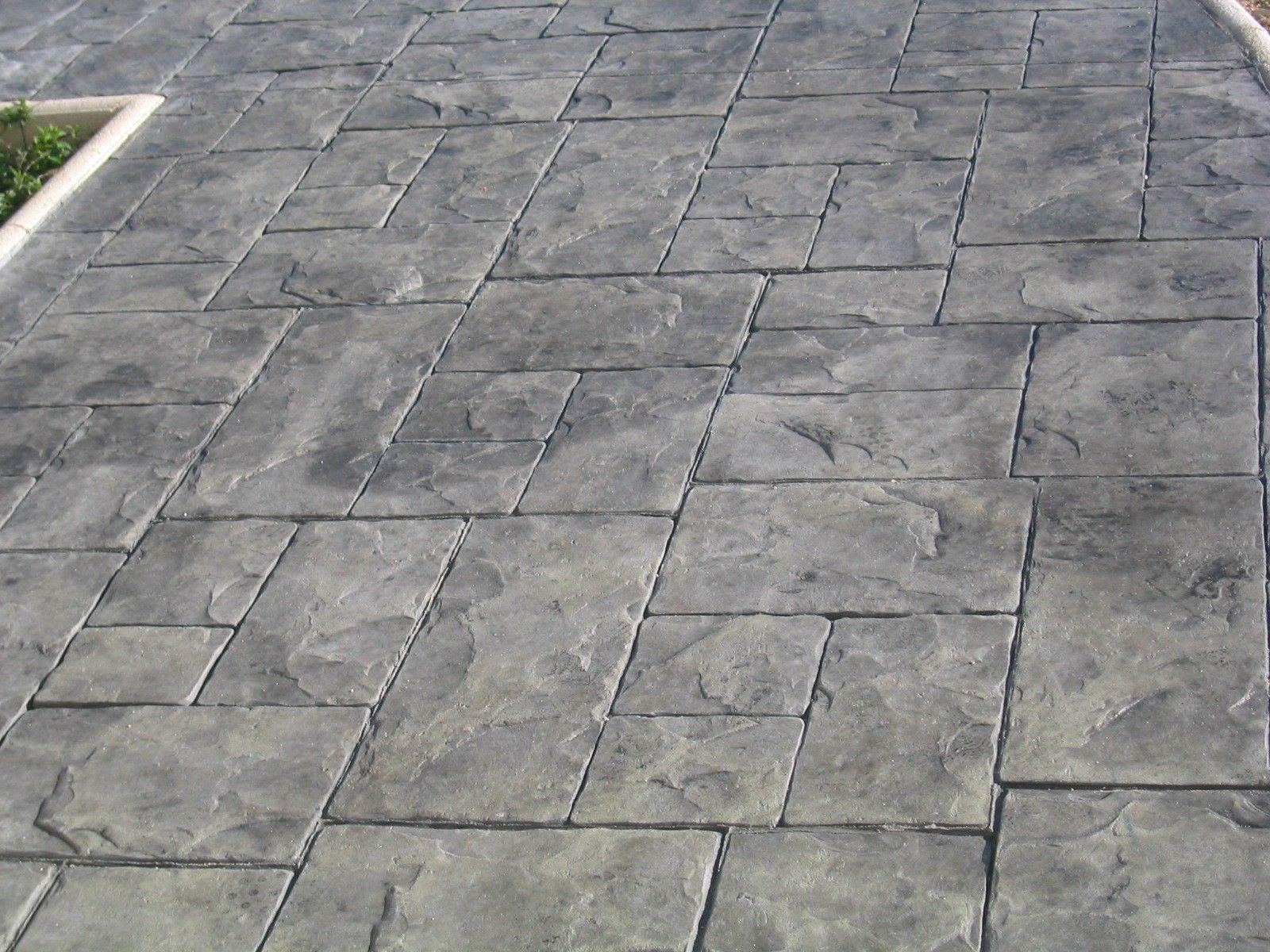 Estampado pizarra silleria sobre impreso pavimento morcret - Baldosas de hormigon para exterior ...