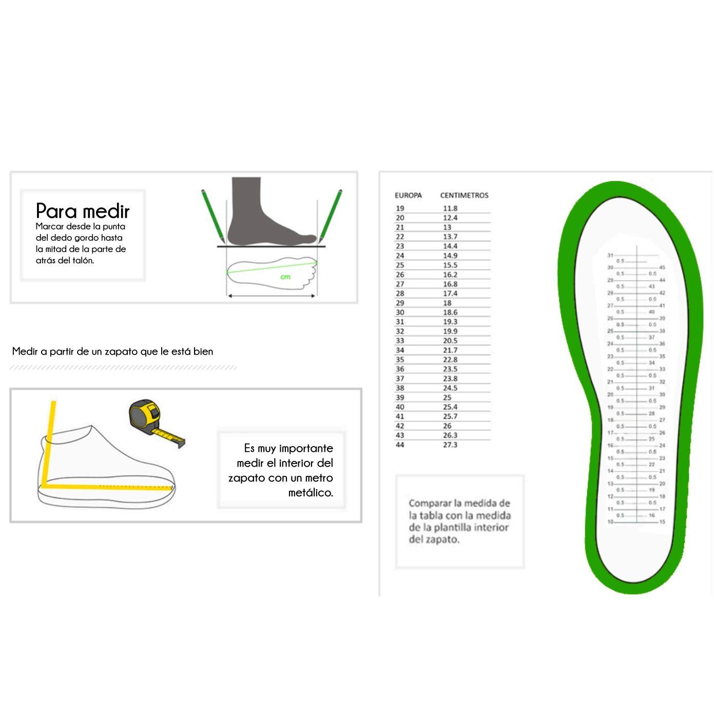 Guía de tallas: Catálogo de Calzado Infantil Los Gatitos