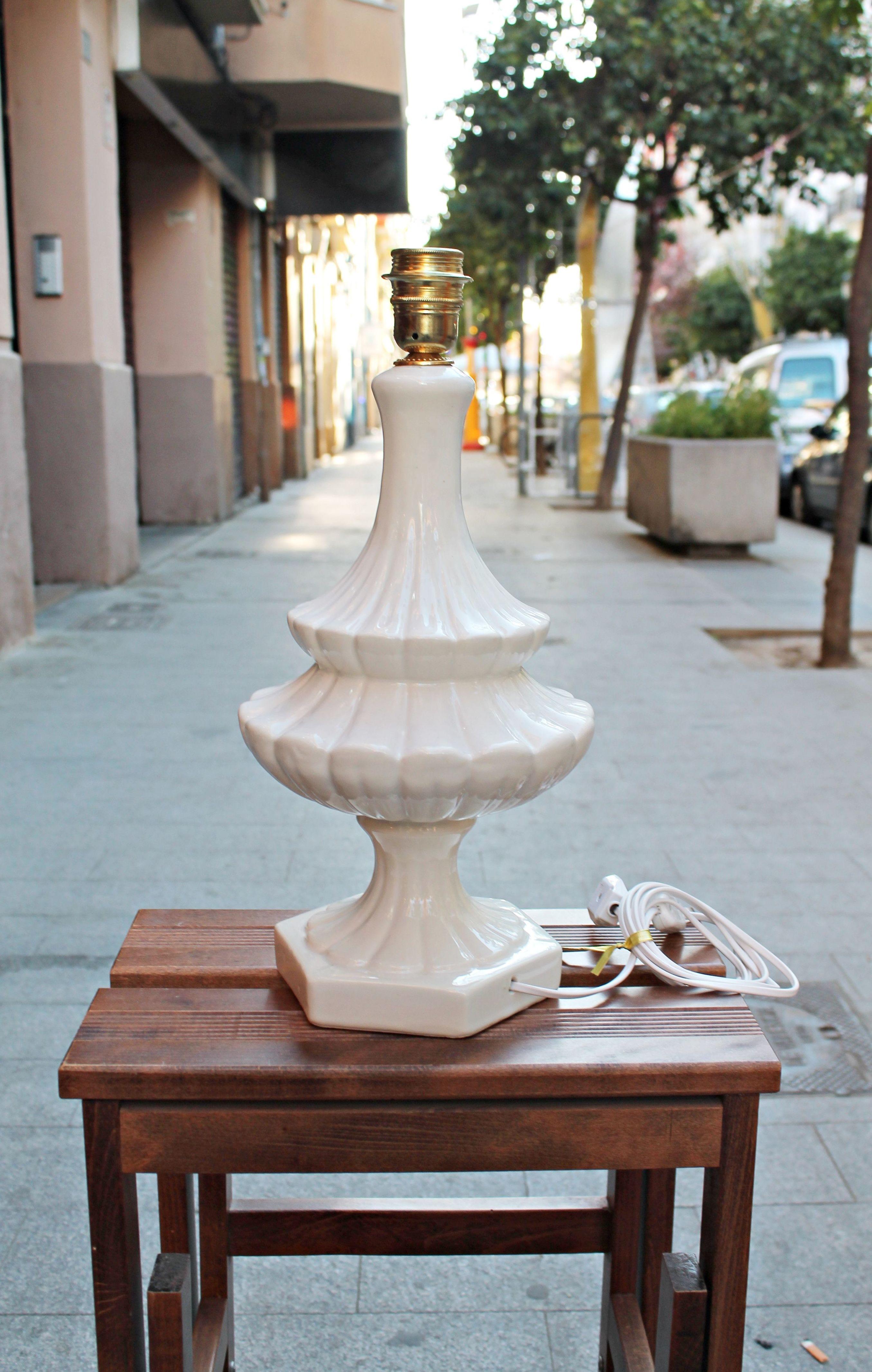 Lámpara de Manises blanco nacarado: Artículos  de Ruzafa Vintage