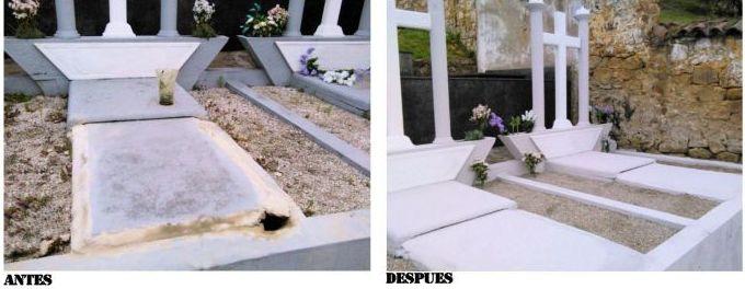 limpieza de nichos y tumbas en Siero