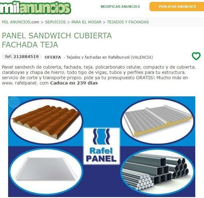 Rafel Panel en Milanuncios
