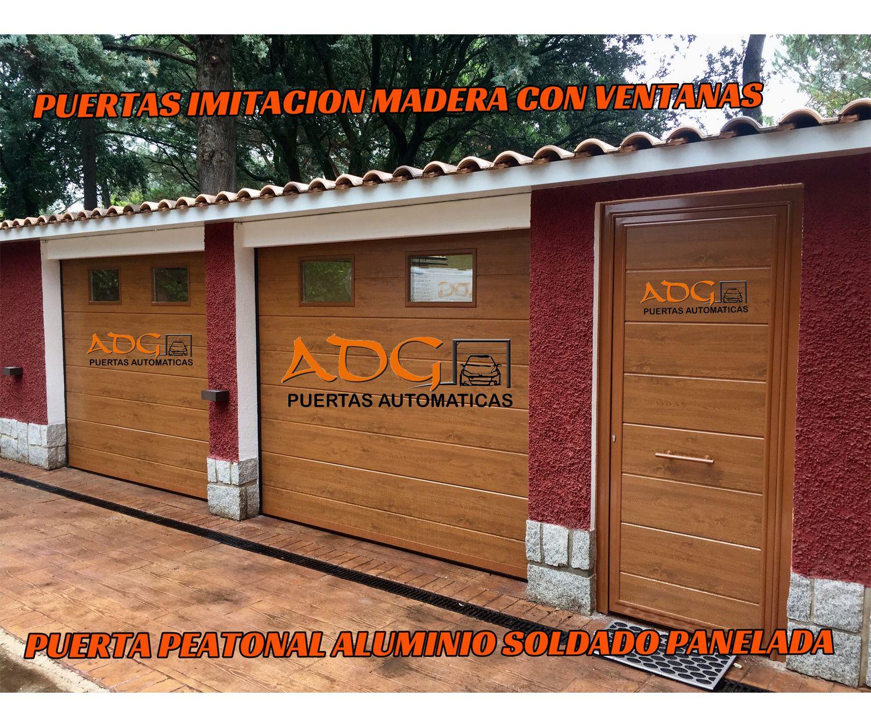 Puerta de imitación a la madera con ventanas