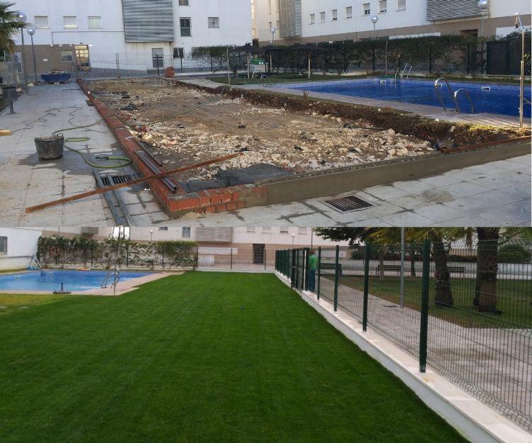 Extensión de piscina (antes y después)