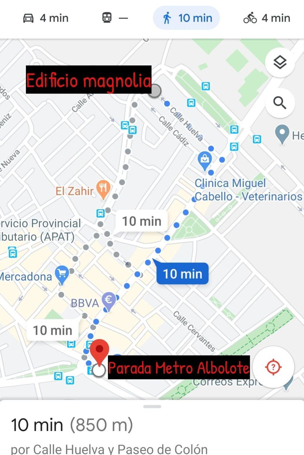 Distancia desde el Edificio Magnolia a parada de metro de Albolote (10 minutos a pie)
