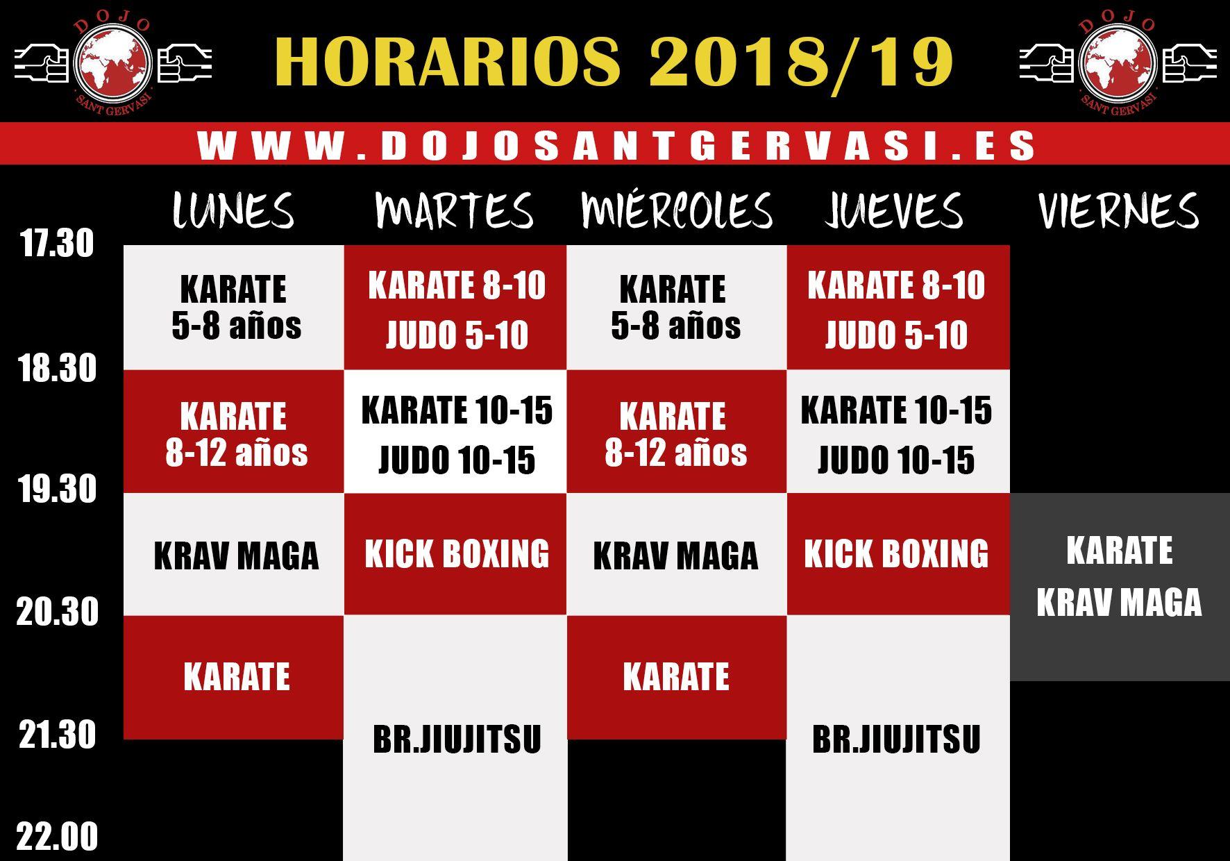 Horarios de artes marciales en Dojo Sant Gervasi de Barcelona