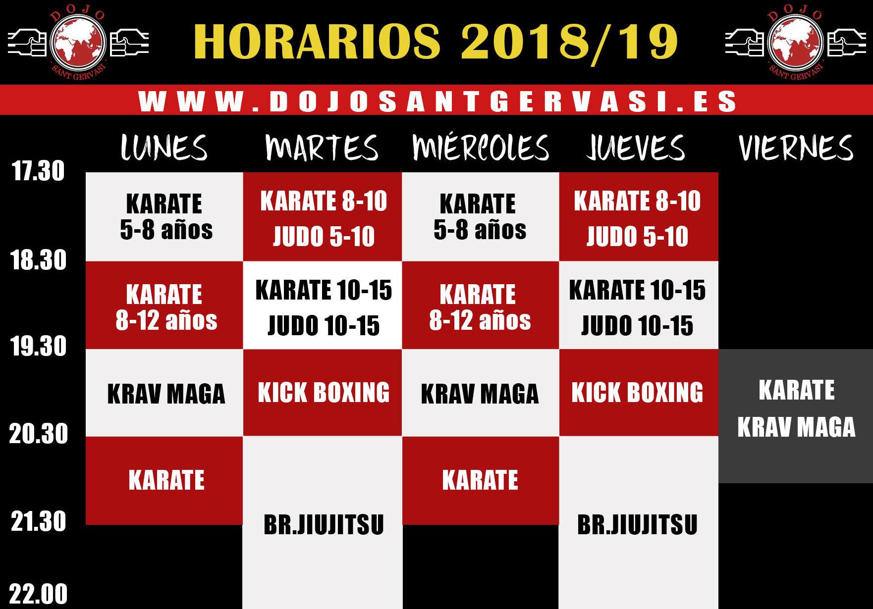 Horarios artes marciales 2018-2019 Dojo Sant Gervasi