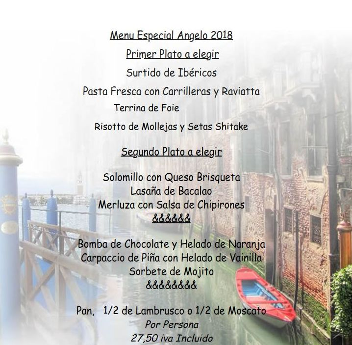 Menú especial Don Angelo 2018
