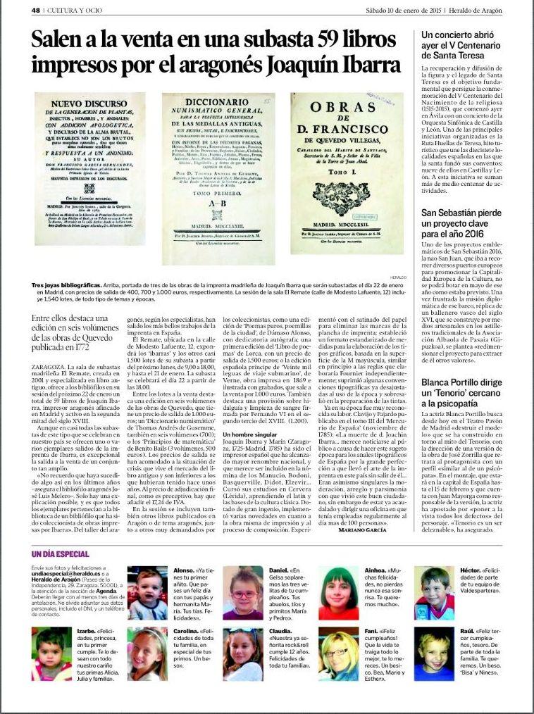 Salen a la venta en una subasta 59 libros impresos por el aragonés Joaquín Ibarra.