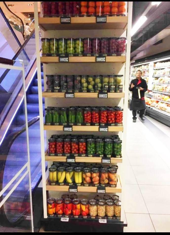 Novedoso sistema de fruta y verdura envasada para supermercados