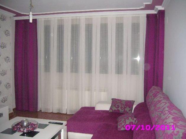 cortina a tablones con caidas  en salon
