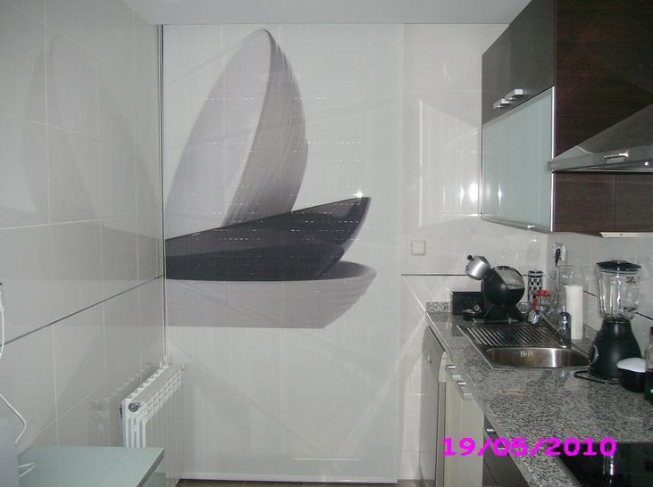 enrollables de screen en cocina con impresion digital