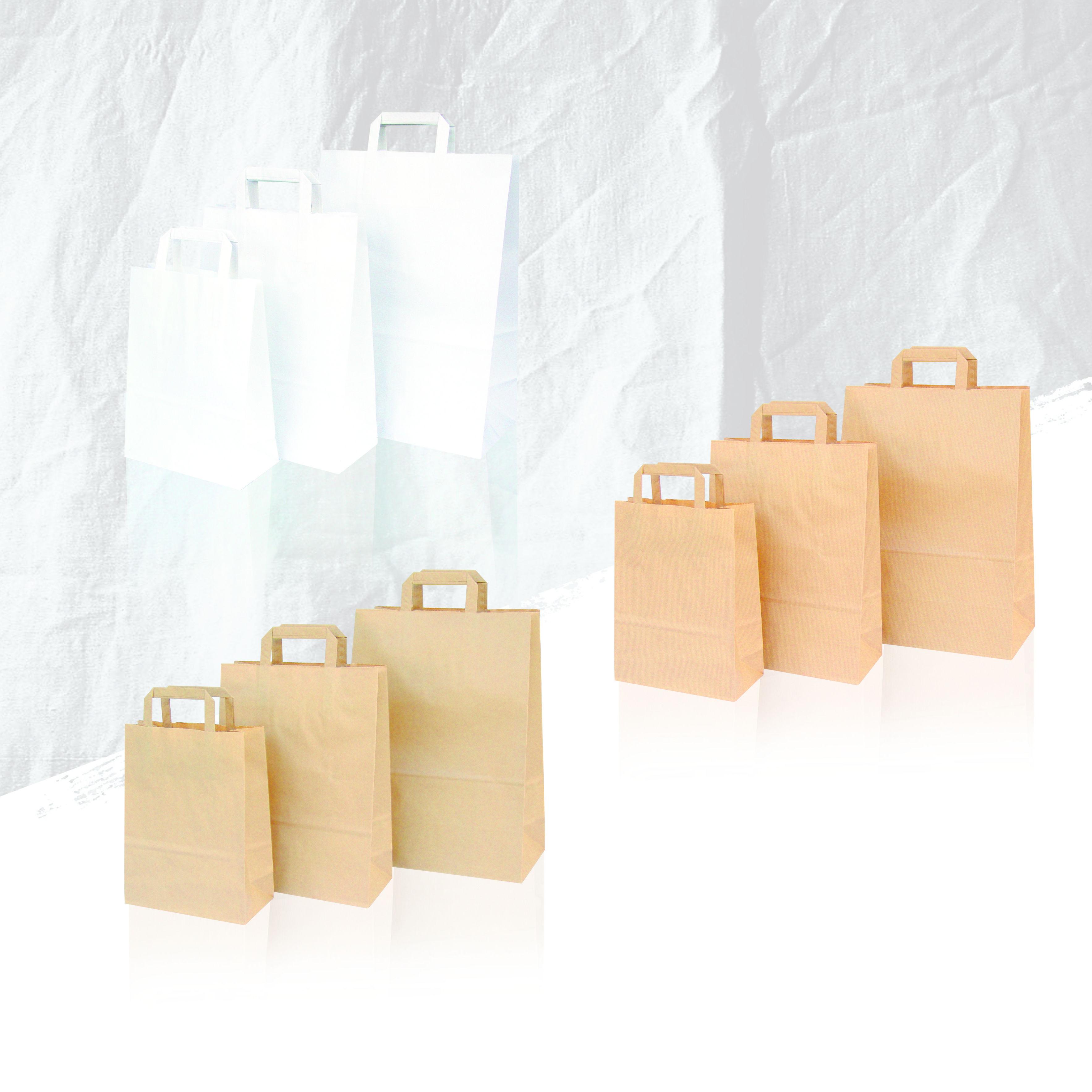Bolsas papel de asa plana