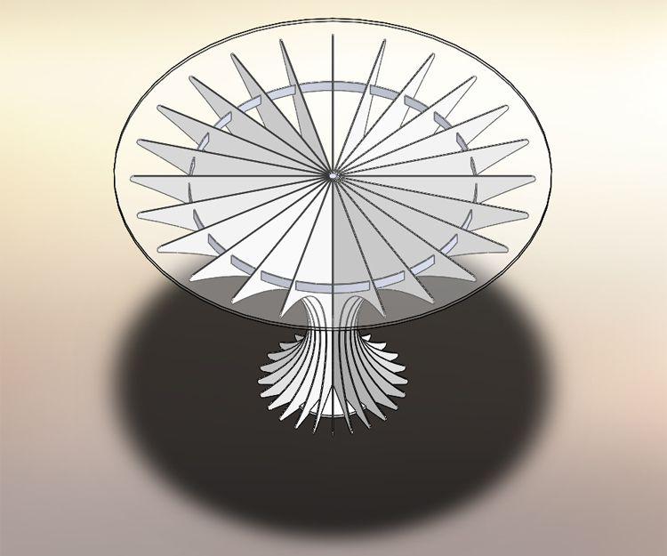 Un modelo 3D de una mesa realizada de chapa y cristal.