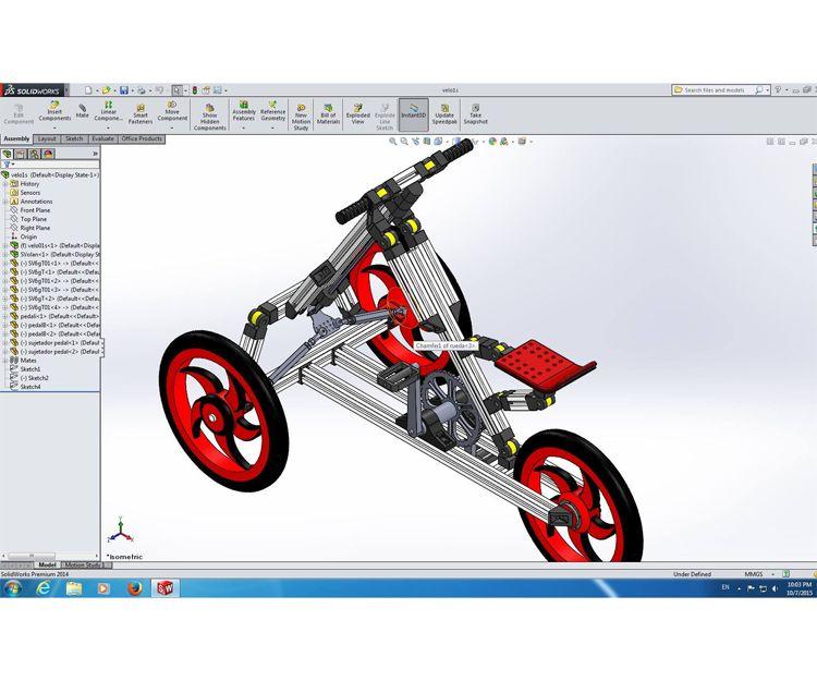 Un ensamblaje creado en 3D SWPRO para mostrar una idea innovadora para un triciclo