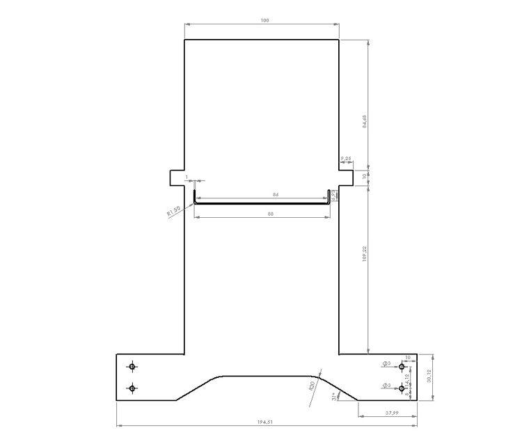 Plano de corte y fabricación de una pieza realizada en SolidWorks