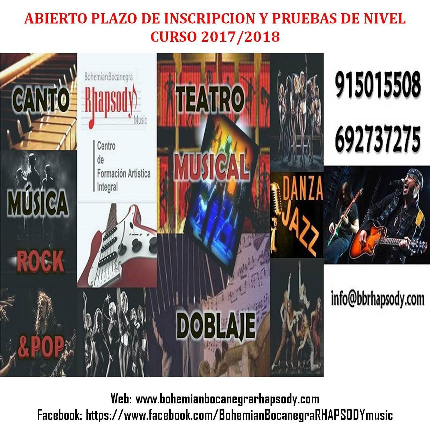 ABIERTO PLAZO DE INSCRIPCION Y PRUEBAS DE NIVEL  CURSO 2017/2018
