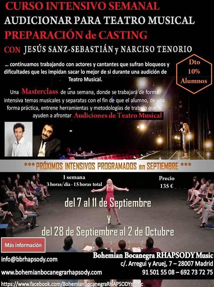 """CURSO INTENSIVO """"AUDICIONAR PARA TEATRO MUSICAL"""" con Jesús Sanz-Sebastián (Director de 50 SOMBRAS! El Musical, FOREVER, KING OP POP, entre otros) y Narciso Tenorio (creador y director artístico de RHAPSODY)"""