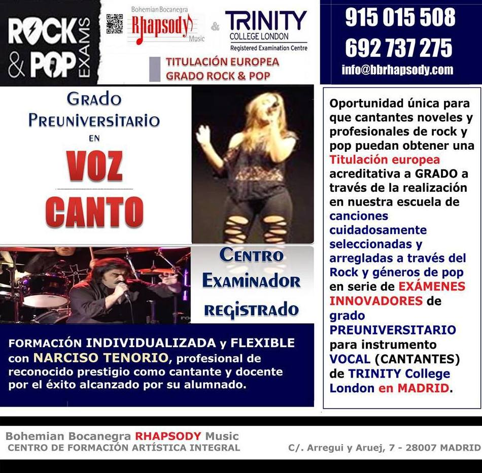 Exámenes VOZ-CANTO TRINITY College London en Bohemian Bocanegra RHAPSODY Music - Madrid