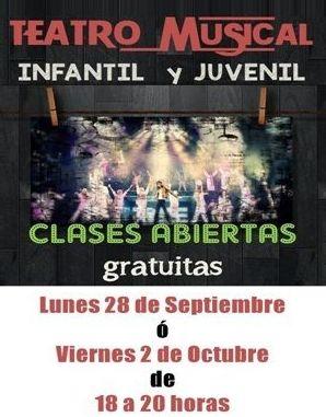 CLASES ABIERTAS GRATUITAS TEATRO MUSICAL INFANTIL & JUVENIL