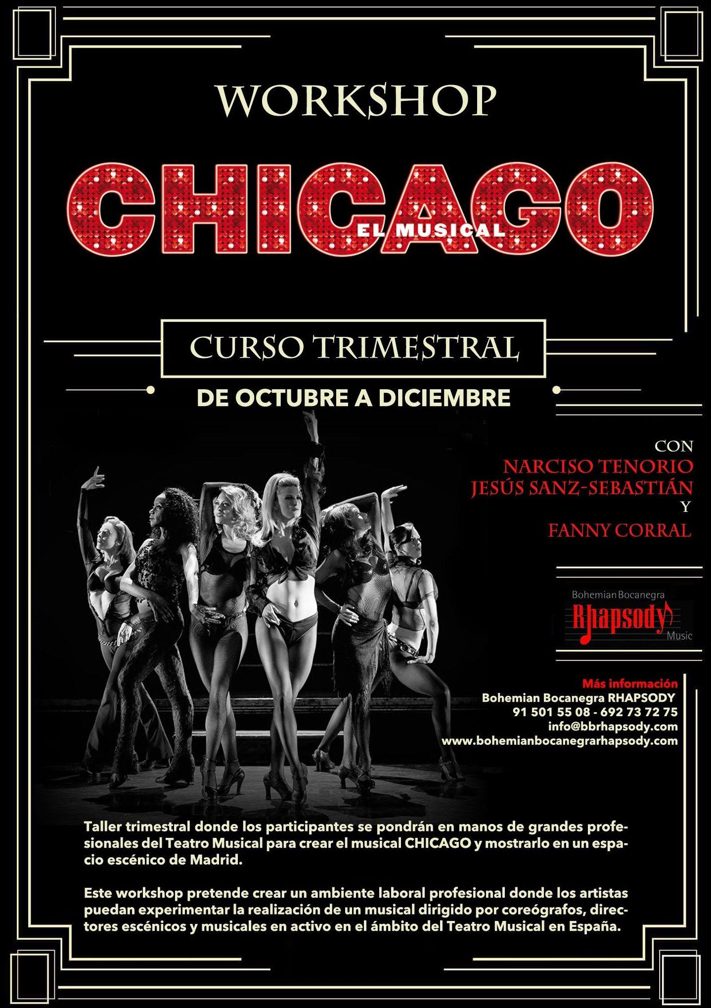 """Workshop de """"CHICAGO""""  (Montaje de una obra musical) con Jesús Sanz-Sebastián, Narciso Tenorio y Fanny Corral. <<< Próximo programado (octubre-diciembre 2015) >>>"""