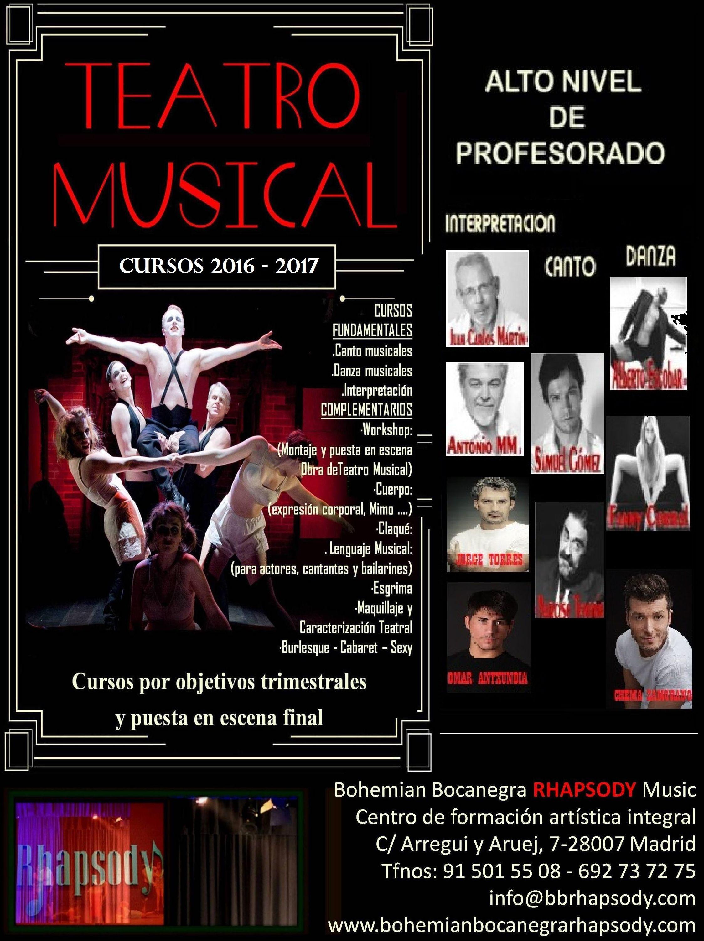 CURSOS ESCUELA TEATRO y COMEDIA MUSICAL - ALTO NIVEL DE PROFESORADO