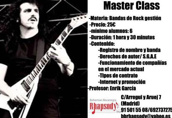 """""""MASTER CLASS  GESTIÓN  BANDAS DE  ROCK"""": Catálogo formación de Bohemian Bocanegra Rhapsody Music"""