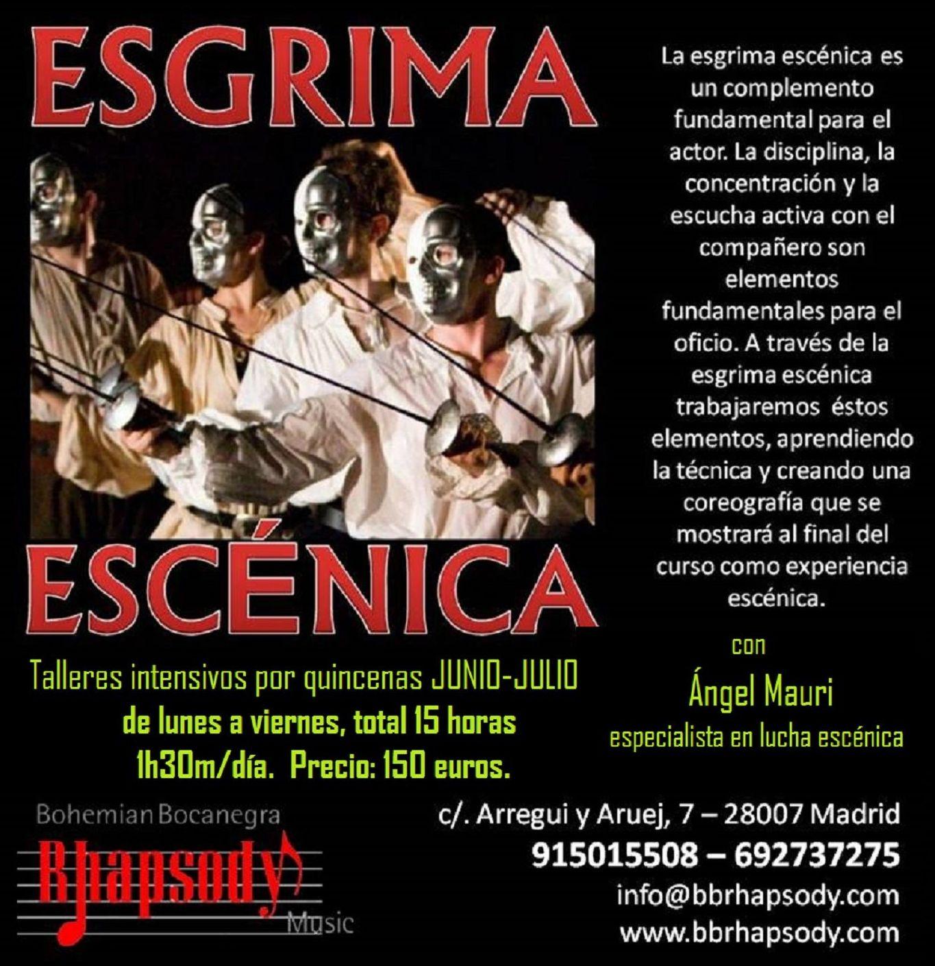 CURSO INTENSIVO de ESGRIMA ESCÉNICA impartido por Ángel Mauri, especialista en lucha escénica.