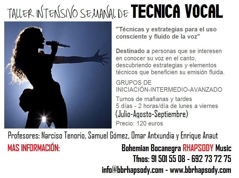 TALLER INTENSIVO SEMANAL DE TÉCNICA VOCAL