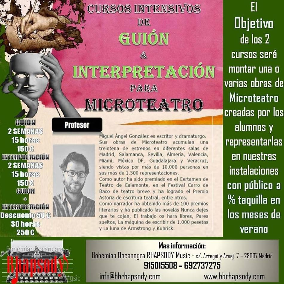 Cursos Intensivos de GUIÓN y/o INTERPRETACIÓN para MICROTEATRO