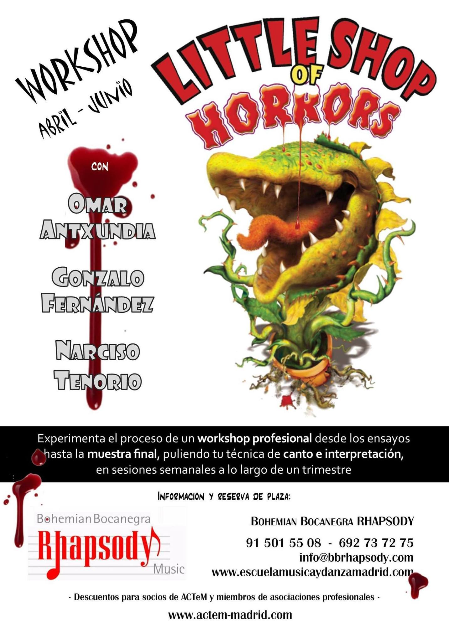 "Workshop ""LITTLE SHOP OF HORRORS"" (Montaje de una obra musical): Catálogo formación de Bohemian Bocanegra Rhapsody Music"