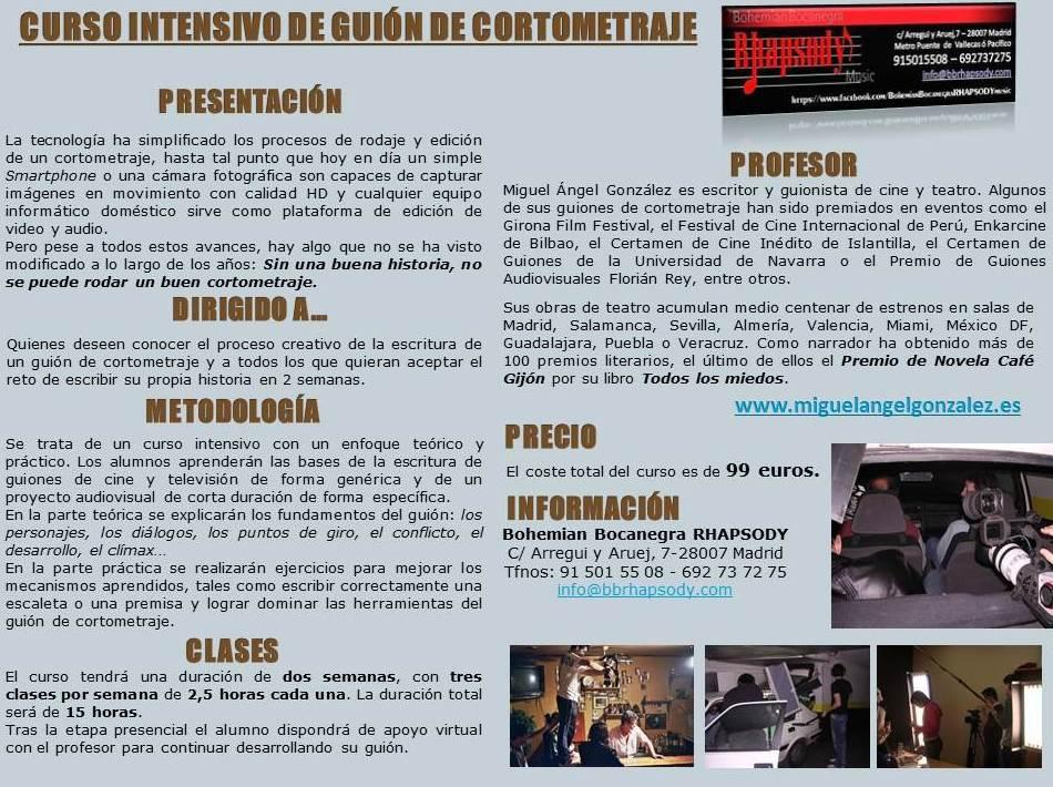 CURSO INTENSIVO DE GUIÓN DE CORTOMETRAJE
