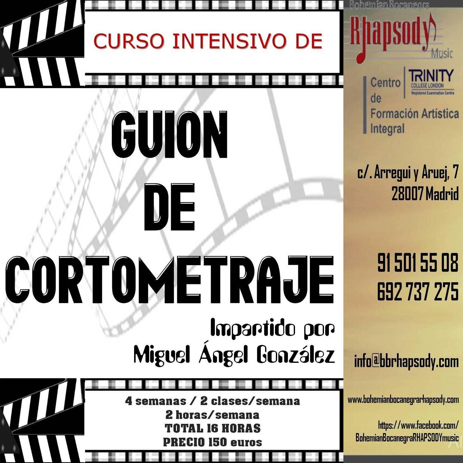 CURSO INTENSIVO DE GUIÓN DE CORTOMETRAJE impartido por Miguél Ángel González