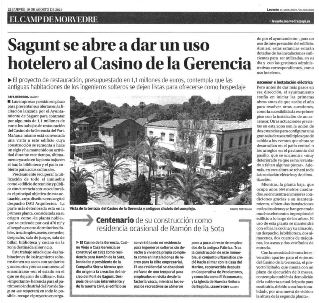 Licitación de las obras de rehabilitación del Casino Gerencia