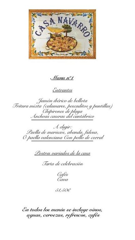 Celebration Menus: A la carte menu de Casa Navarro