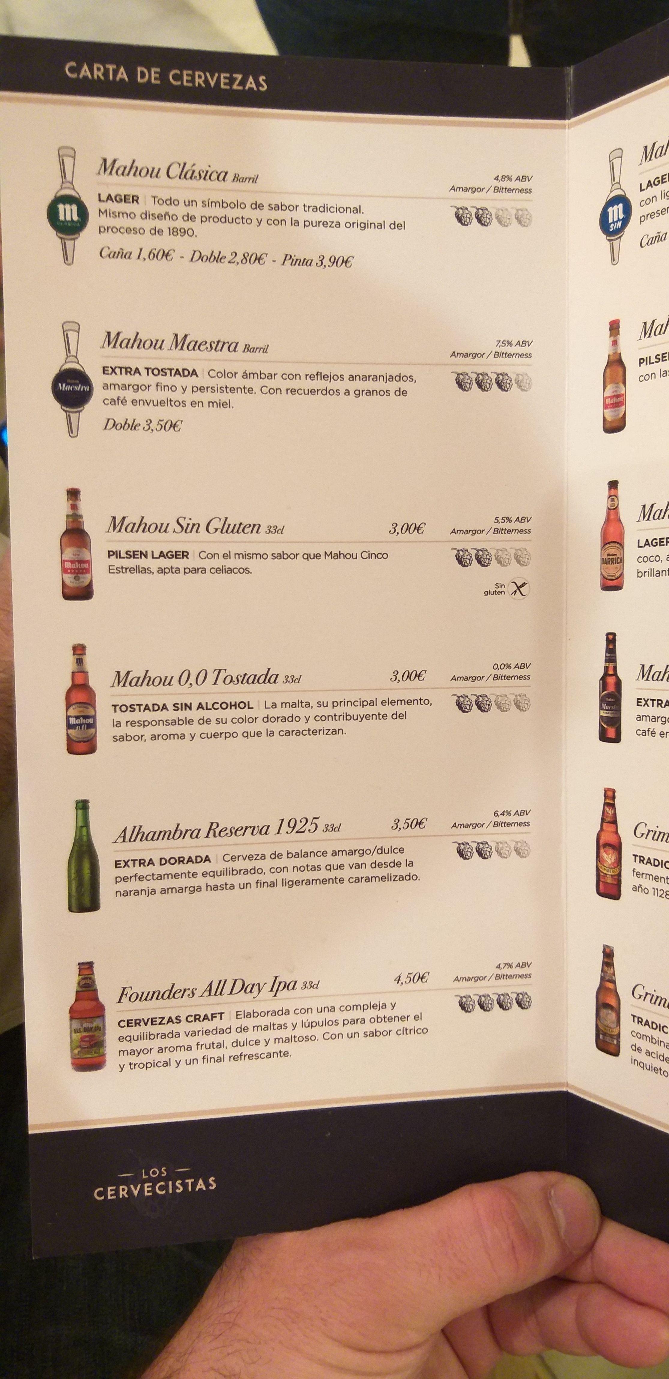 Carta de cervezas en Chamberí