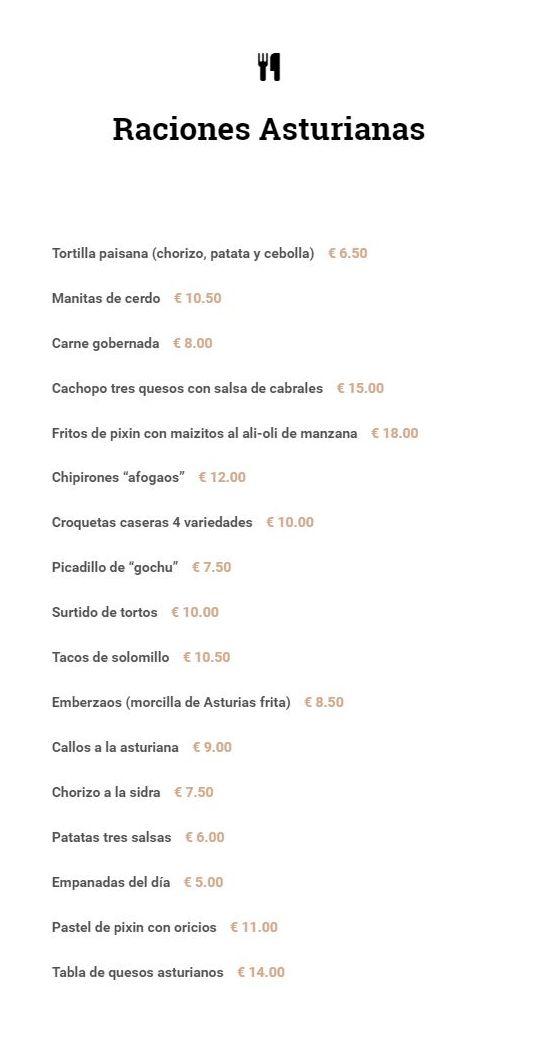 Raciones asturianas