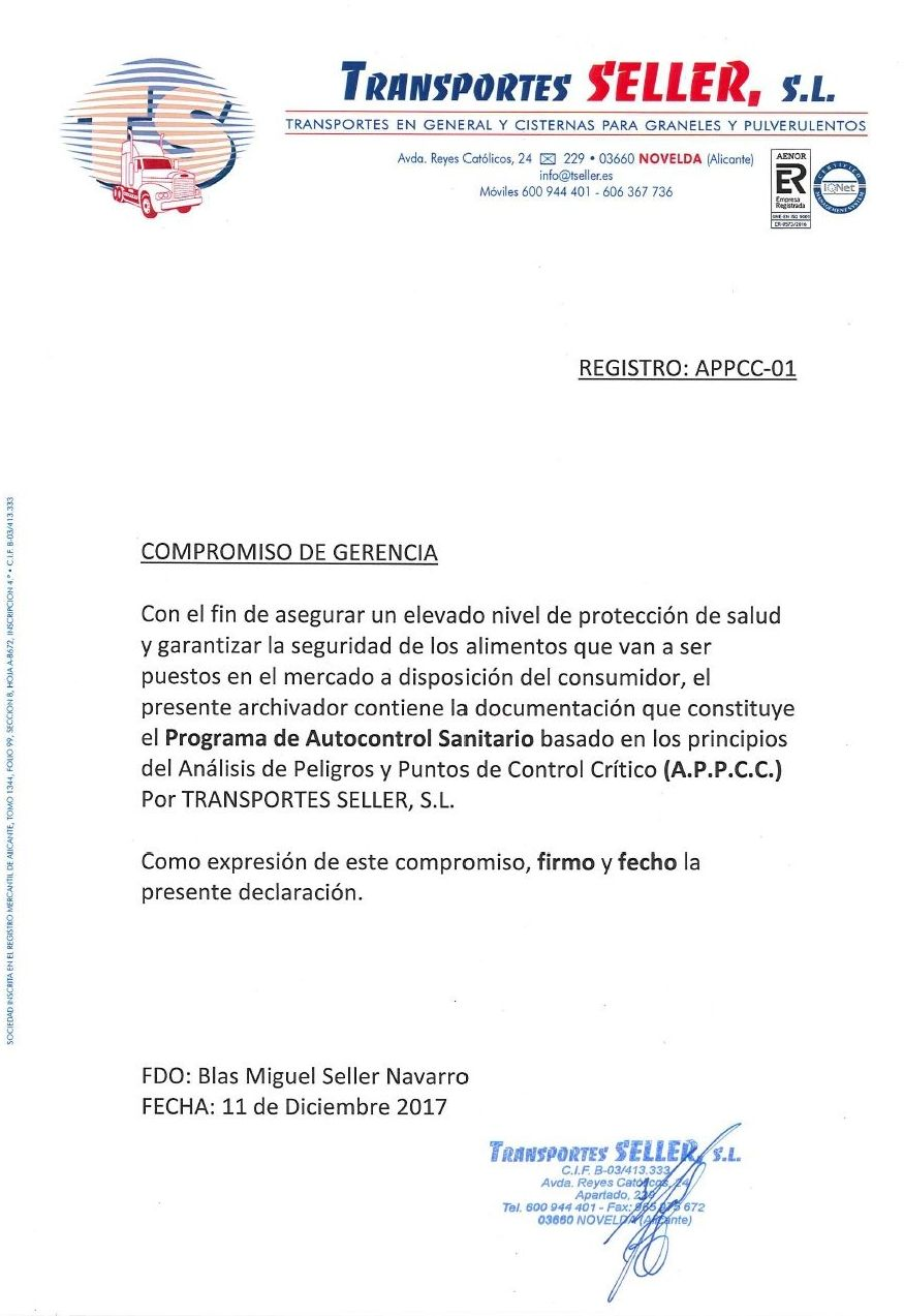 Compromiso APPCC Transportes Seller, S.L.