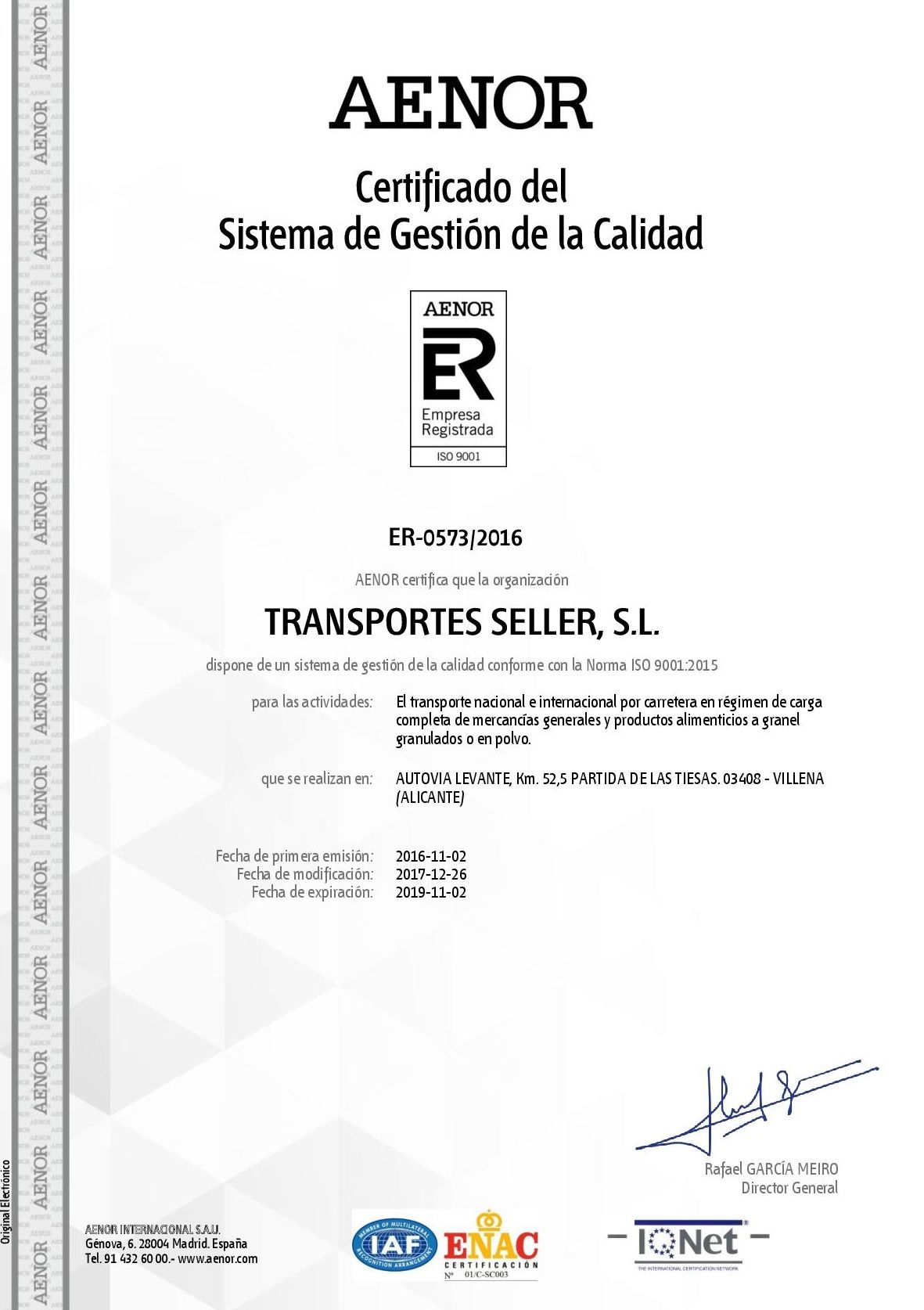 Acreditada en UNE EN ISO 9001:2015
