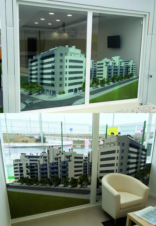 vinilo doble visión en caseta de venta de pisos
