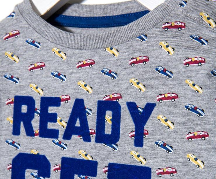 Detalle camiseta manga larga Ready Set Go gris antes 7.99 € ahora 5.59€