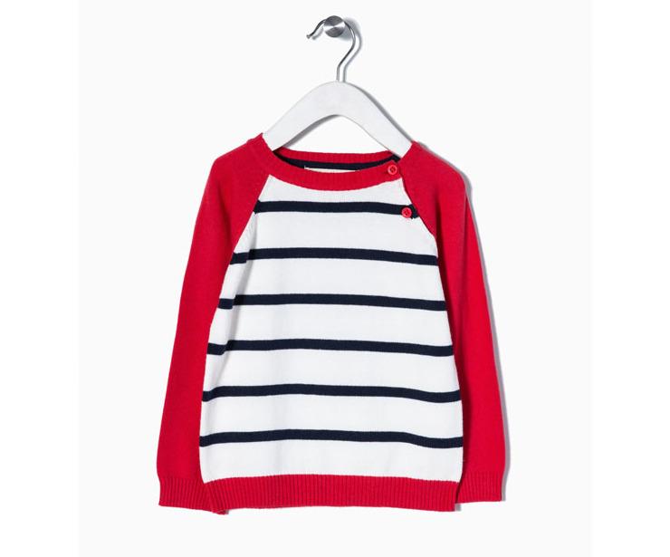 Jersey punto blanco rayas azules mangas rojas antes 12.99 € ahora 9.10€
