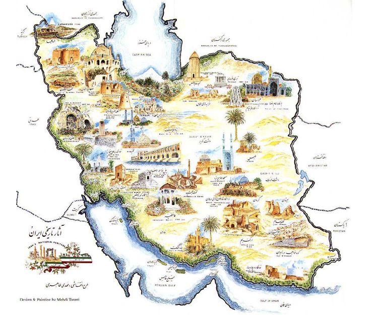 Mapa de los mejores monumentos para visitar en Irán