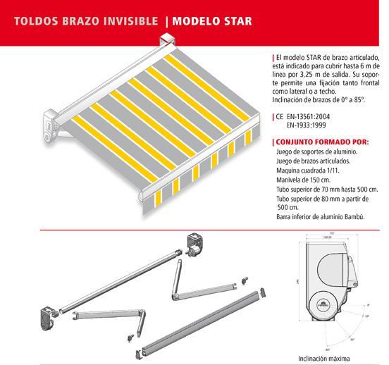 Toldo brazo invisible star productos de puertas miret for Precio brazo articulado toldo
